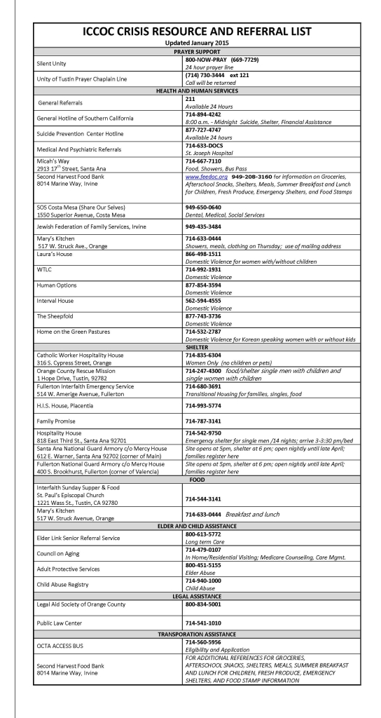 ICCOC CRISIS RESOURCE AND REFERRAL LIST updated January    2015